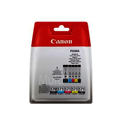 Canon PGI-570 PGBK CLI-571 Black, Cyan, Magenta and Yellow Ink Cartridges - PGI 570 571 CMYK, 39ml