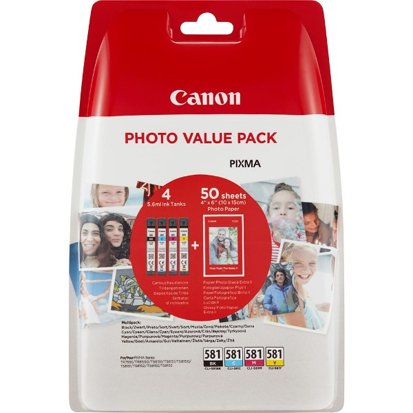 Canon CLI-581 Ink Cartridge Multipack plus 50 sheets paper - CLI 581 Multi Pack