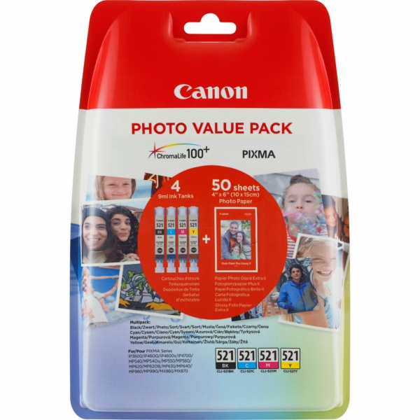 Canon 521 Photo Value Pack Black, Cyan, Magenta and Yellow Ink Cartridges - CLI 521 CMYK