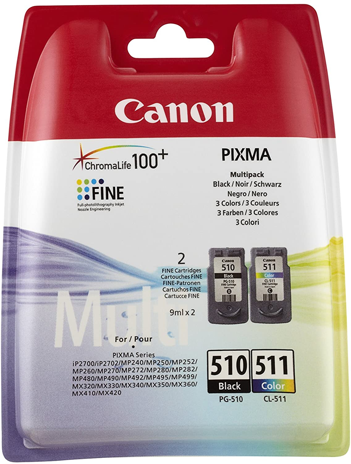 Canon Multi Pack PG 510 Black and CL-511 Colour Ink Cartridges