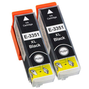 Premium Quality High Capacity Compatible Twin Black Ink Cartridges for T335140, 22ml x 2