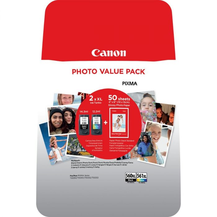 Canon PG-560XL CL-561XL High Capacity Photo Value Pack Black and Color Ink Cartridges 3712C004
