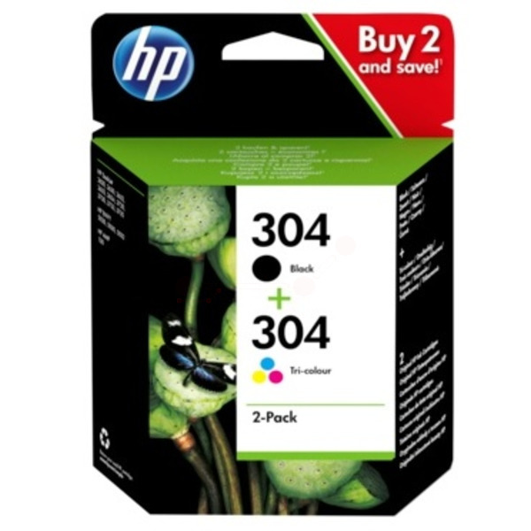 Black & Tri-Colour HP 304 Ink Cartridge Multipack - 3JB05AE