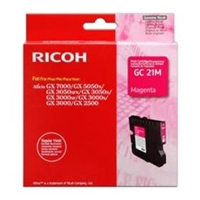 Ricoh GC 21M Standard Capacity Gel Print Magenta Ink Cartridge, 1K Page Yield