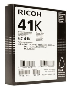 Ricoh High Capacity GC 41K Gel Print Black Ink Cartridge, 2.5K Page Yield