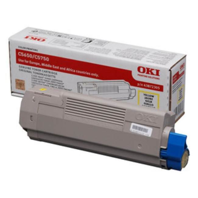 Oki Yellow Toner Cartridge, 2K Yield