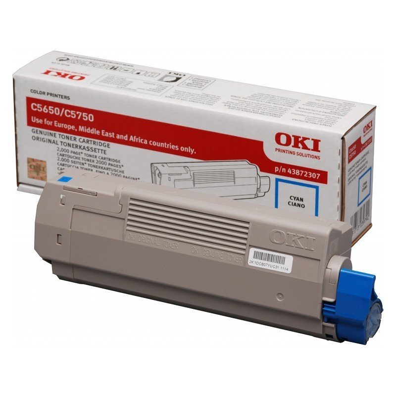 Oki Cyan Toner Cartridge, 2K Yield