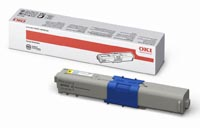 Oki Yellow Laser Toner Cartridge, 2K Page Yield