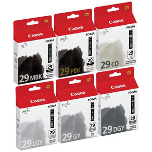 Canon Lucia PGI 29 Multi Pack MBK/PBK/DGY/GY/LGY/CO Ink Cartridges (29)