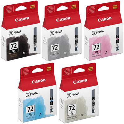 Canon PGI 72 PBK, GY, PM, PC, CO Ink Cartridges