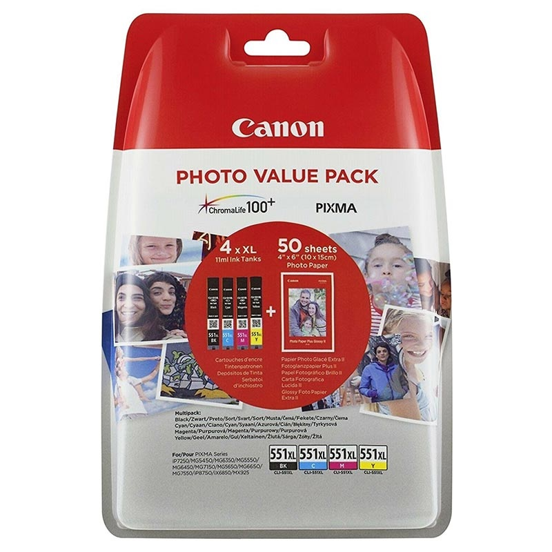 Canon 551XL Photo Value Pack Black, Cyan, Magenta and Yellow Ink Cartridges - CLI 551XL CMYK