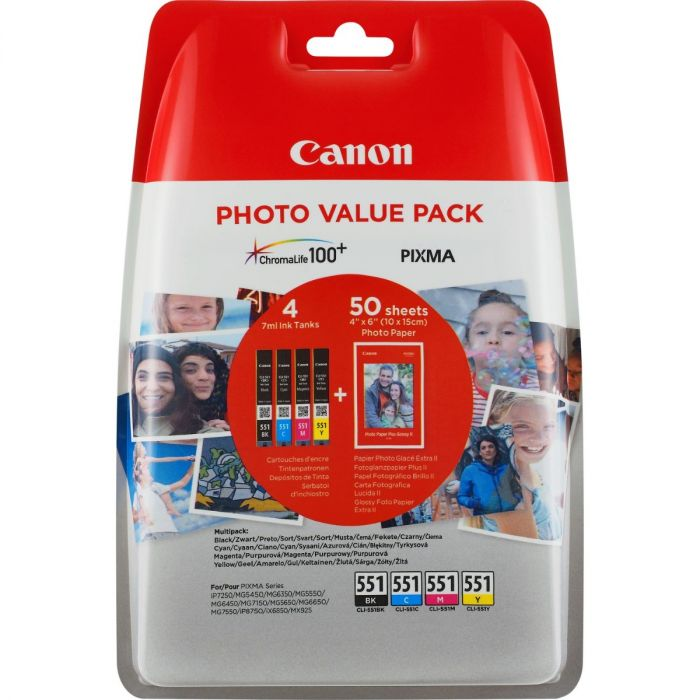 Canon 551 Photo Value Pack Black, Cyan, Magenta and Yellow Ink Cartridges - CLI 551 CMYK