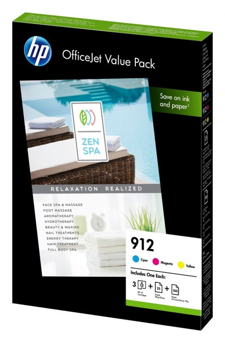 HP 912 CMY Ink Cartridge Multipack With A4 Paper - 6JR41AE