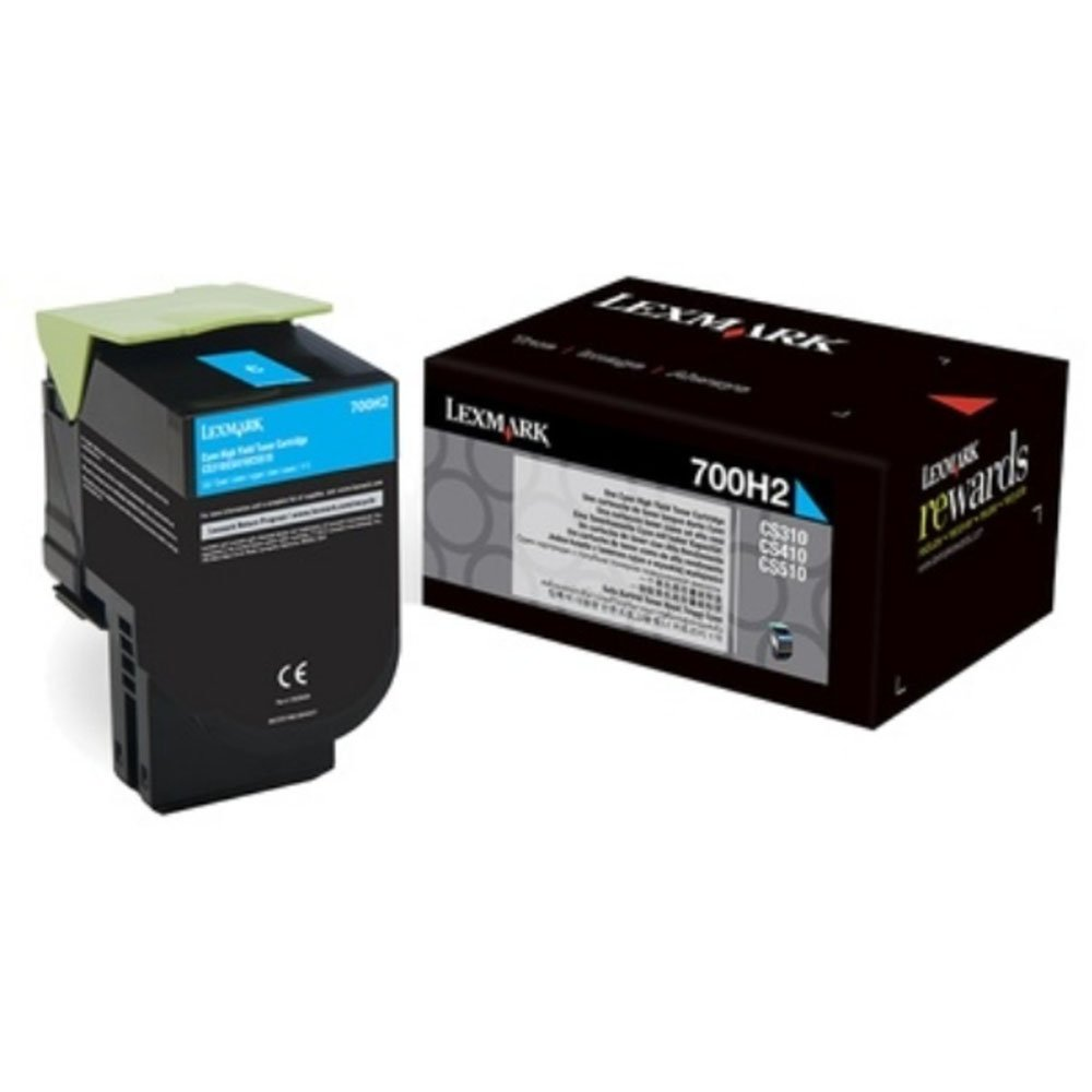 Lexmark 700H2 High Capacity Cyan Toner Cartridge, 3K Page Yield