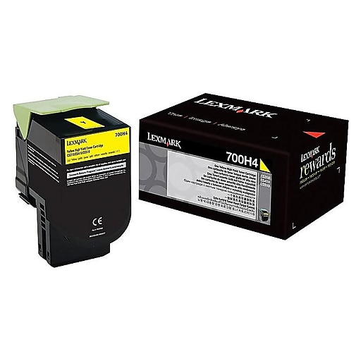 Lexmark 700H4 High Capacity Yellow Toner Cartridge, 3K Page Yield