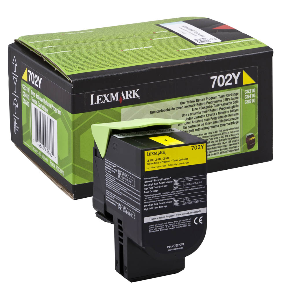 Lexmark 702Y Return Program Yellow Toner Cartridge, 1K Page Yield