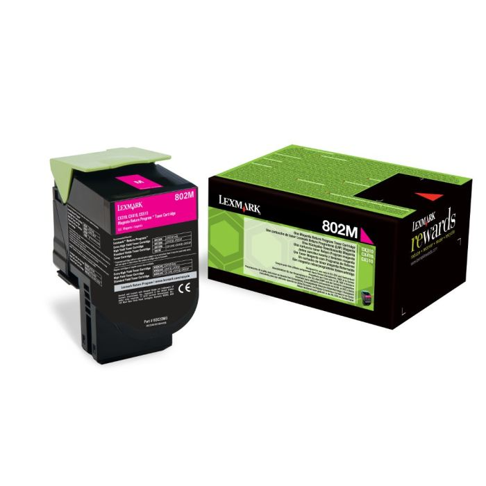 Lexmark 802HM High Capacity Return Program Magenta Toner Cartridge, 3K Page Yield