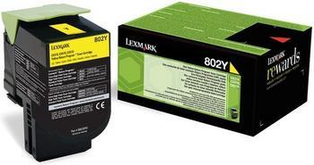 Lexmark 802HY High Capacity Return Program Yellow Toner Cartridge, 3K Page Yield