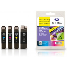 Jet Tec Quad Pack LC-123 Black, Cyan, Magenta, Yellow Ink Cartridges