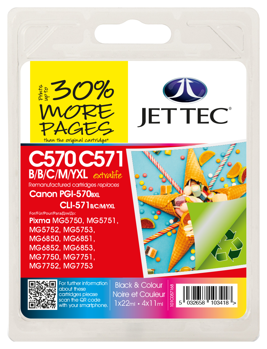 Jet Tec PGI-570XL Black Ink Cartridge plus CLI-571XL Black, Cyan, Magenta, Yellow Ink Cartridges