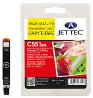 Jet Tec CLI-551XL Black Ink Cartridge, 11ml