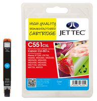 Jet Tec CLI-551XL Cyan Ink Cartridge, 11ml