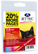 Jet Tec CLI-8 Cyan, Magenta, Yellow Ink Cartridges, 15.5ml x 3
