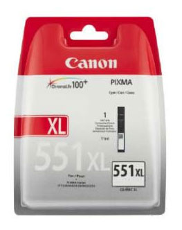 Canon 551XL High Capacity Black Ink Cartridge - CLI 551XL BK, 11ml