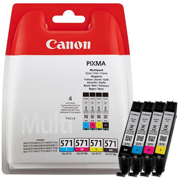 Canon 571 Multi Pack Black, Cyan, Magenta and Yellow Ink Cartridges - CLI 571 CMYK, 28ml