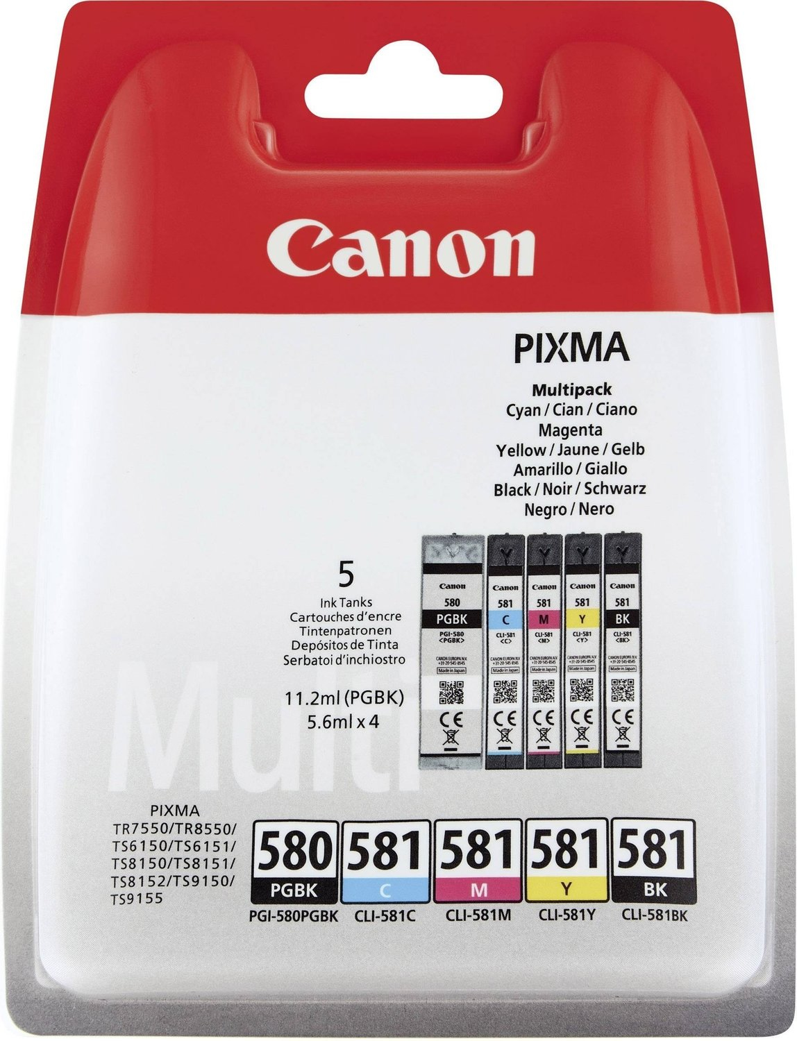 Canon PGI-580 PGBK CLI-581 Black, Cyan, Magenta and Yellow Ink Cartridges - PGI 580 581 CMYK, 33.6ml