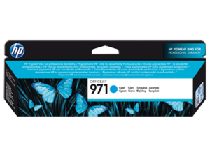 HP 971 Cyan Ink Cartridge, CN622A, 2.5K Page Yield