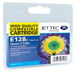 Jet Tec E128C Compatible Cyan Ink Cartridge for T0128240, 3.5ml