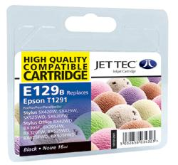 Jet Tec  E129B Black Ink Cartridge for T0129140, 11.2ml