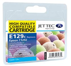 Jet Tec E129C Compatible Cyan Ink Cartridge for T0129240, 7ml