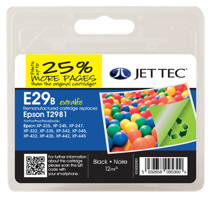 Jet Tec E29B Black Ink Cartridge for T298140, 12ml