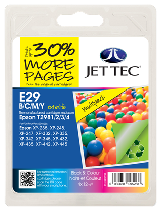 Jet Tec Black, Cyan, Magenta, Yellow Ink Cartridges Multi Pack BK/C/M/Y Ink Cartridges for T298640