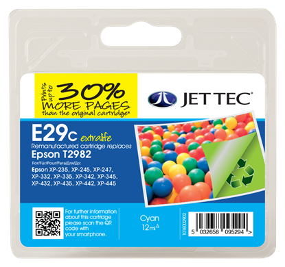 Jet Tec E29C Compatible Cyan Ink Cartridge for T298240, 12ml