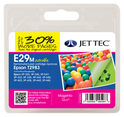 Jet Tec E29M Compatible Magenta Ink Cartridge for T298340, 12ml