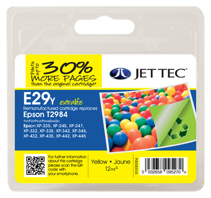 Jet Tec E29Y Compatible Yellow Ink Cartridge for T298440, 12ml