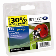 Jet Tec ( Made in the UK) Black Ink Cartridge for T040140, 20ml