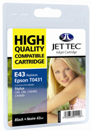 Jet Tec ( Made in the UK) High Capacity Lightfast Black Ink Cartridge for T0431, 43ml