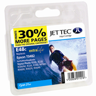 Jet Tec (Made in the UK) E48C Cyan Ink Cartridge for T048240, 13ml