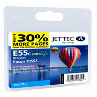 Jet Tec (Remanufactured in the UK) E55C Cyan Ink Cartridge for T055240, 8ml