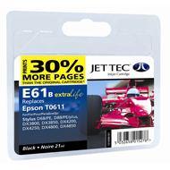 Jet Tec ( Made in the UK) E61B Compatible Black Ink Cartridge for T061140, 8ml