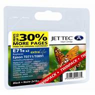 Jet Tec ( Made in the UK) E71BX2 Twin Pack Compatible Black Ink Cartridge for T071140