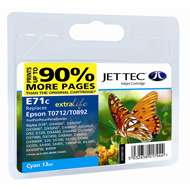Jet Tec ( Made in the UK) E71C Remanufactured Cyan Ink Cartridge for T071240, 5.5ml