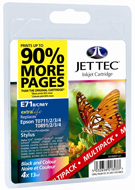 Jet Tec ( Remanufactured in the UK) Black, Cyan, Magenta, Yellow Ink Cartridges Multi Pack, 24.2ml