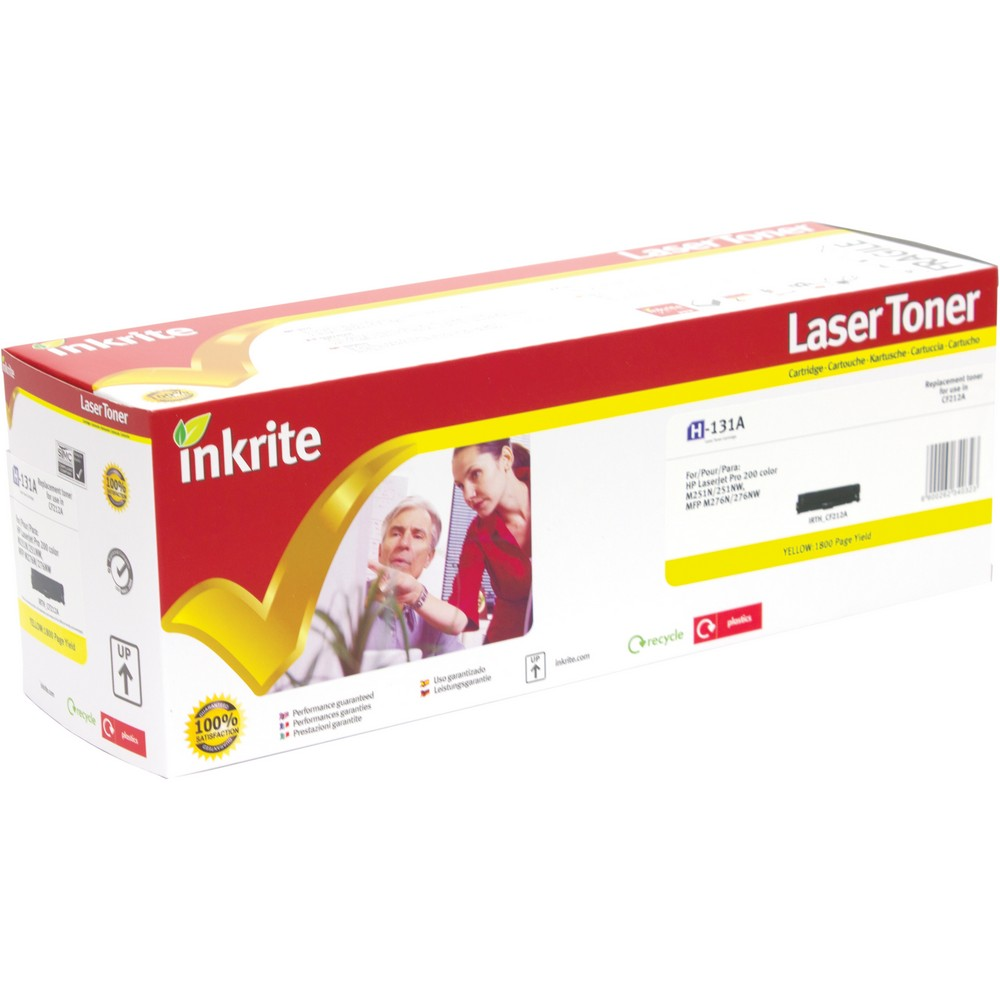 Inkrite Premium Quality Compatible Yellow for HP CF210A (131A) Laser Cartridge, 1.6K Page Yield