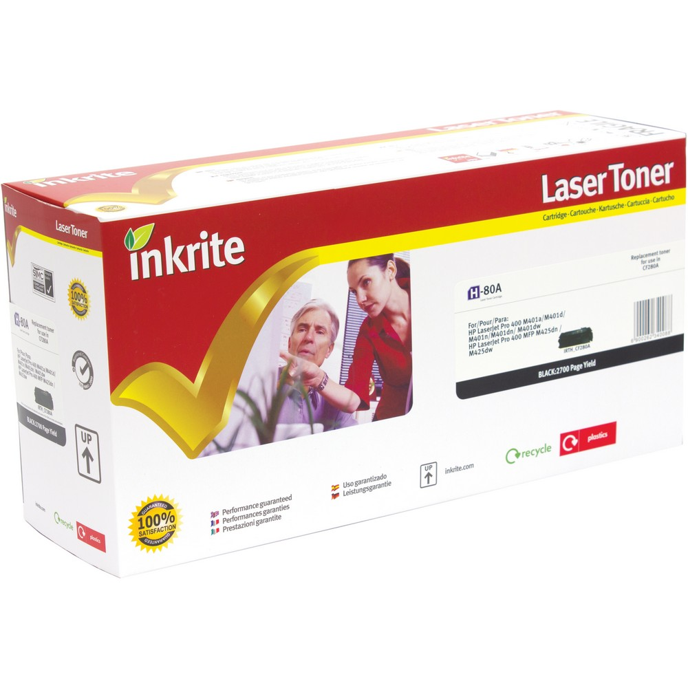 Inkrite Premium Quality Compatible Standard Capacity Black for HP CF280A (80A) Laser Cartridge, 2.7K Page Yield