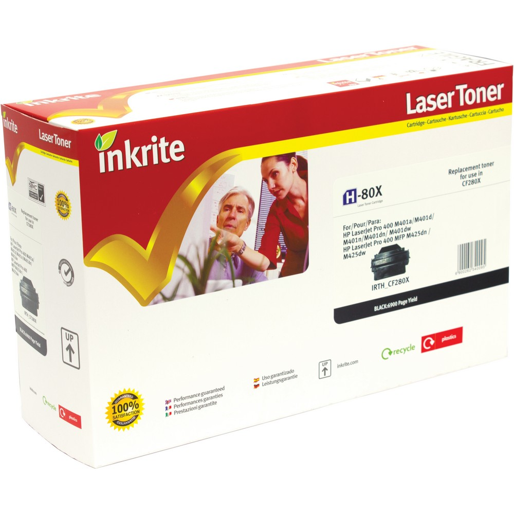 Inkrite Premium Quality Compatible High Capacity Black for HP CF280X (80X) Laser Cartridge, 6.8K Page Yield